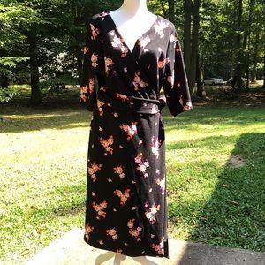 Kiyonna Floral wrap dress
